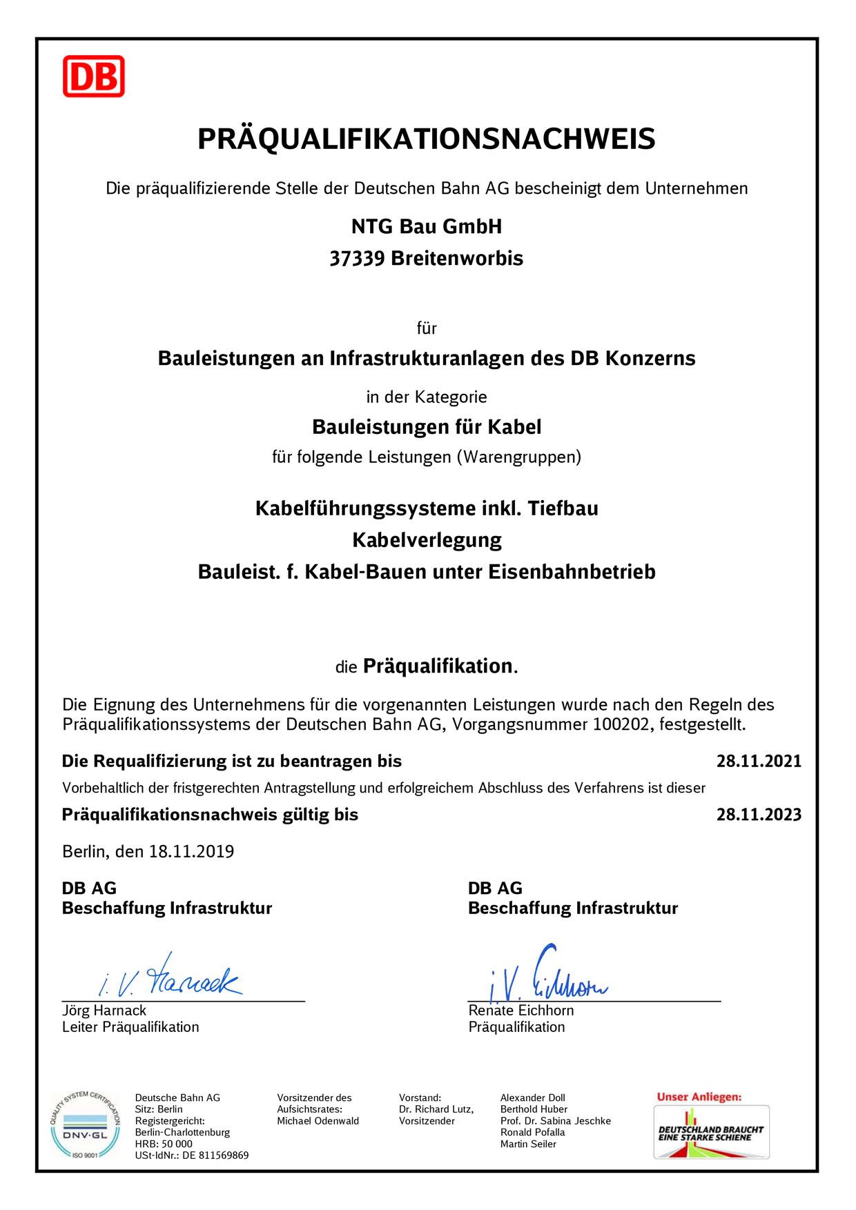 NTG-Bau DIN EN ISO 9001